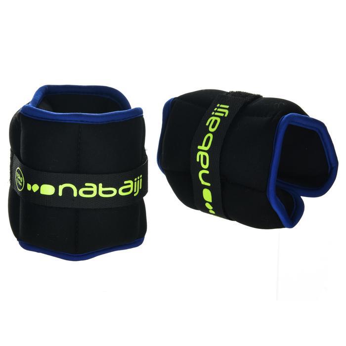 Verzwaarde pols/enkelbanden voor aquafitness zwart/blauw. 20,5 kg.