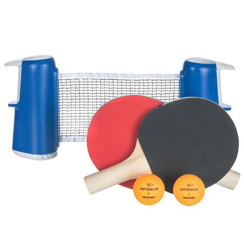 Kit filet de ping pong adaptable avec 2 balles et 2 raquettes