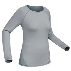 T-Shirt mérinos trekking montagne Techwool 190 manches longues femme gris