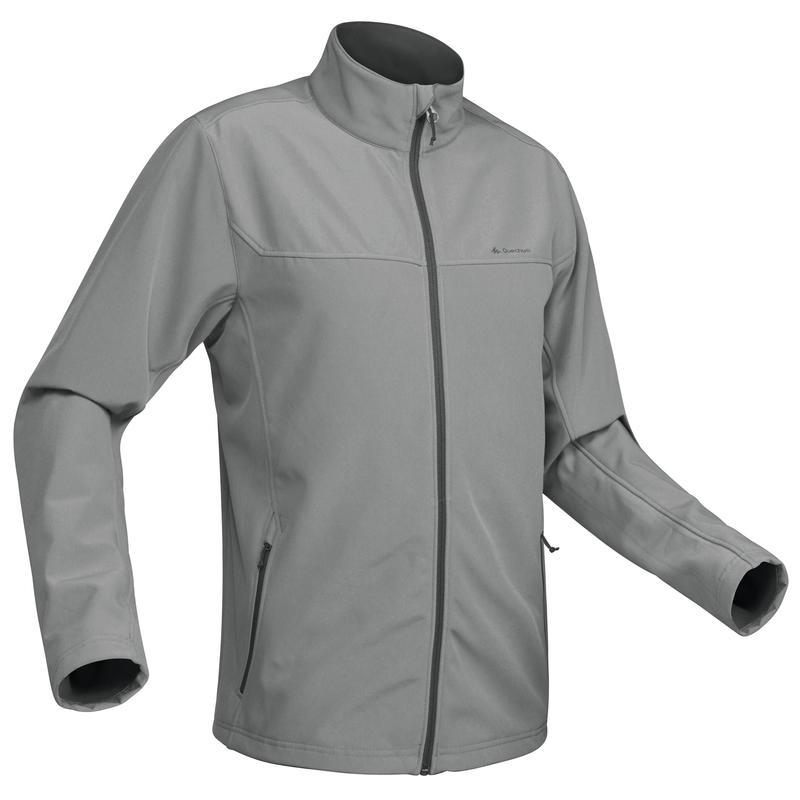 Men's Mountain Trekking Softshell Wind Warm Jacket - TREK 100 WINDWARM - Grey