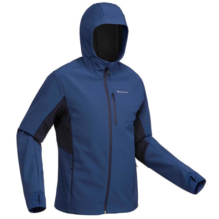 Warme winddichte softshelljas voor bergtrekking heren Trek 500 Windwarm blauw