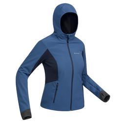 Veste softshell trekking montagne TREK900 WINDWARM femme bleu