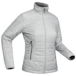 女款登山健行化纖填充外套TREK 100-灰色