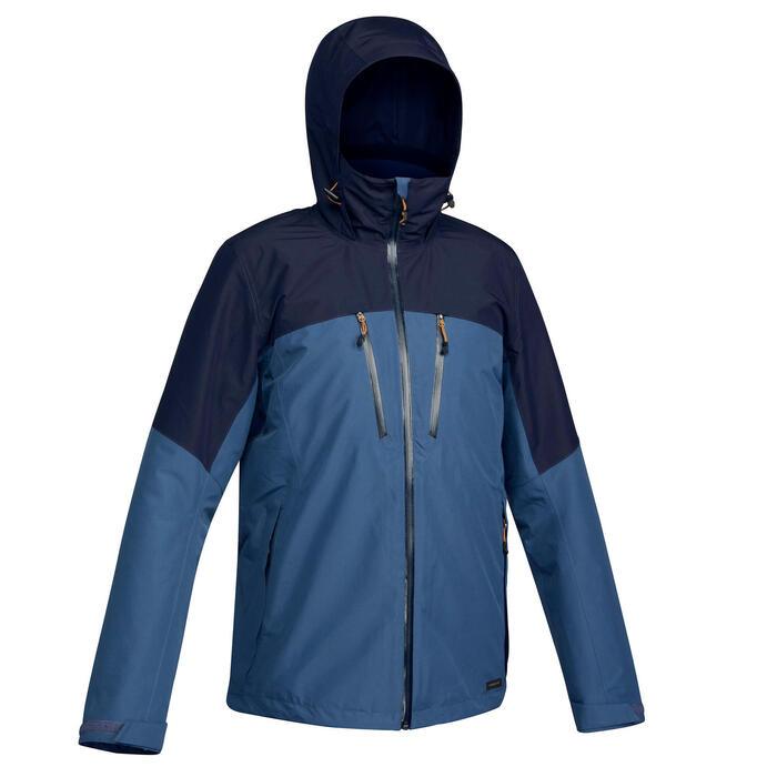 男款旅遊健行3合1防水外套-溫度分級-10°C-Travel 500-藍色