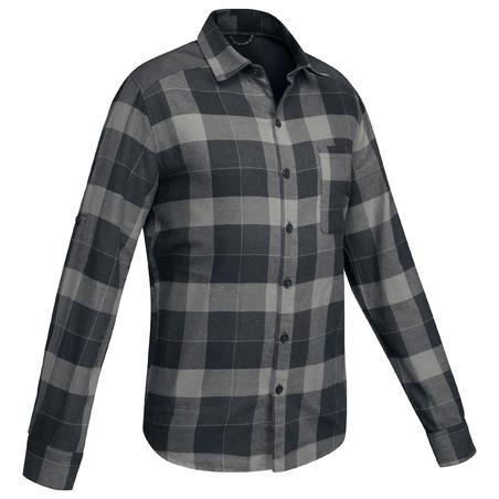 Chemise randonnée voyage TRAVEL100 chaude homme noir