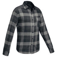 Men's Trekking Shirt TRAVEL 100 Warm - Black