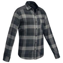 Overhemd voor backpacken Travel 100 warm heren zwart