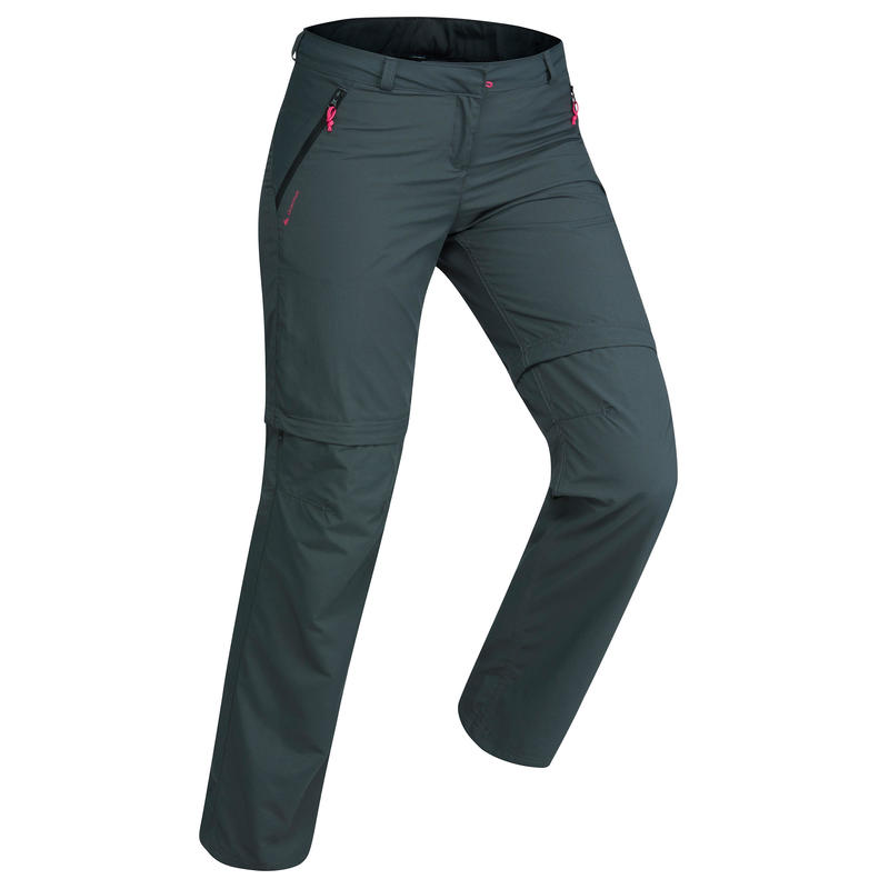 Women's TREK 100 mountain trekking convertible trousers - dark grey