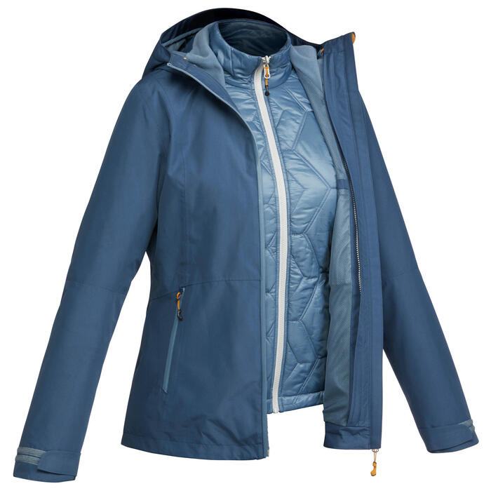 3-in-1 damesjas voor trekking Rainwarm 500 blauw