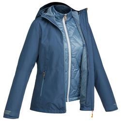 女款三合一健行外套TRAVEL 500-藍色