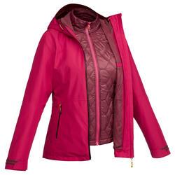 Veste 3en1 imperméable confort -8°C de trek voyage - TRAVEL 500 rose - femme
