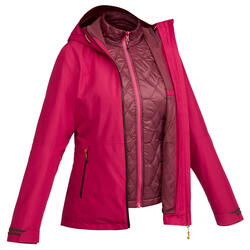 Women's Trekking 3-in-1 Jacket Travel 500 - Pink