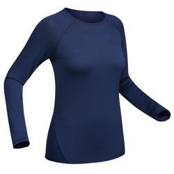 Merino shirt met lange mouwen voor bergtrekking dames Trek 500 blauw