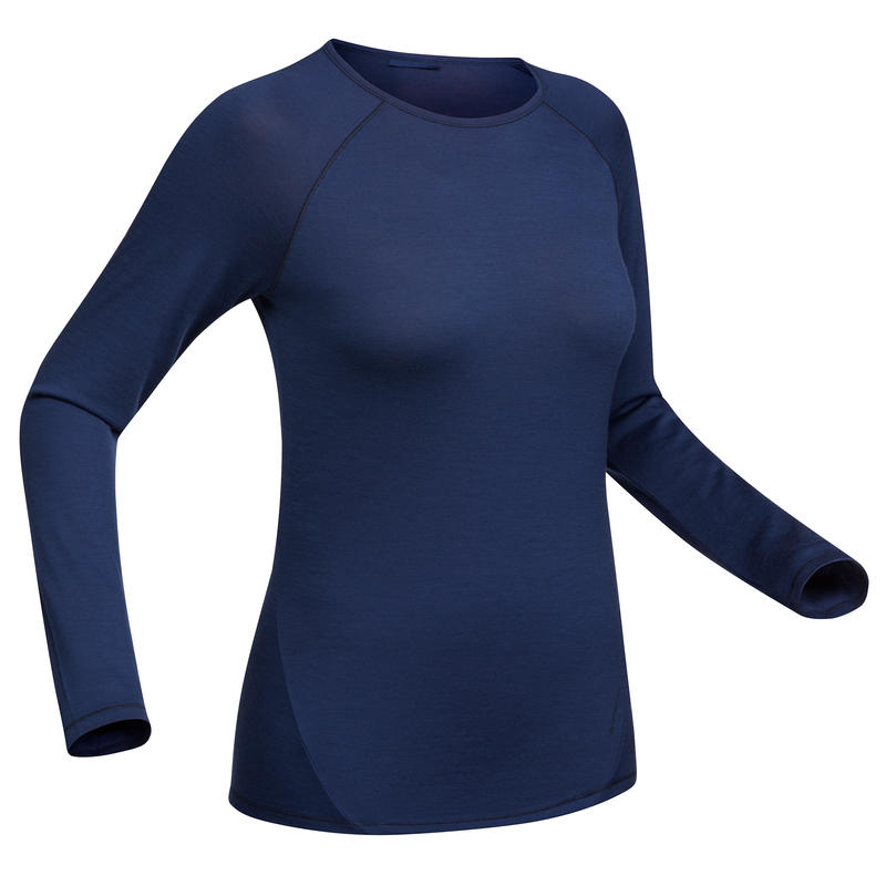 Techwool 190 Women's Mountain Trekking Long-Sleeved Shirt - Blue