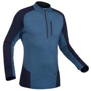 Men's Mountain Trekking Long-sleeved Merino T-Shirt - TREK 500 Hybrid Blue