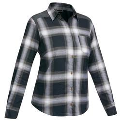 46e7f6b418 Camisa manga larga trekking TRAVEL 100 warm mujer a cuadros gris