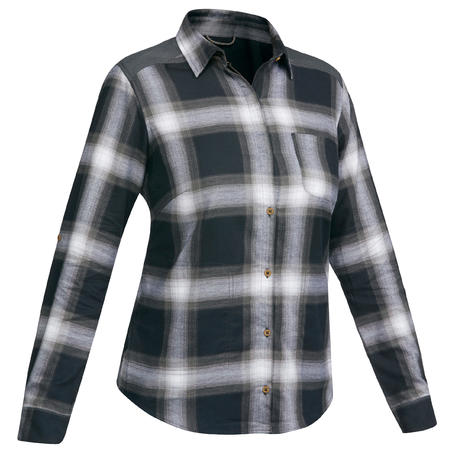 Women's Trekking Long-Sleeved Shirt TRAVEL100 - Warm Grey Check