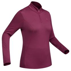 Camiseta de manga larga trekking montaña TECHWOOL 190 cremallera mujer rosa