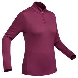 Damesshirt met lange mouwen en rits voor bergwandelingen Techwool 190 roze