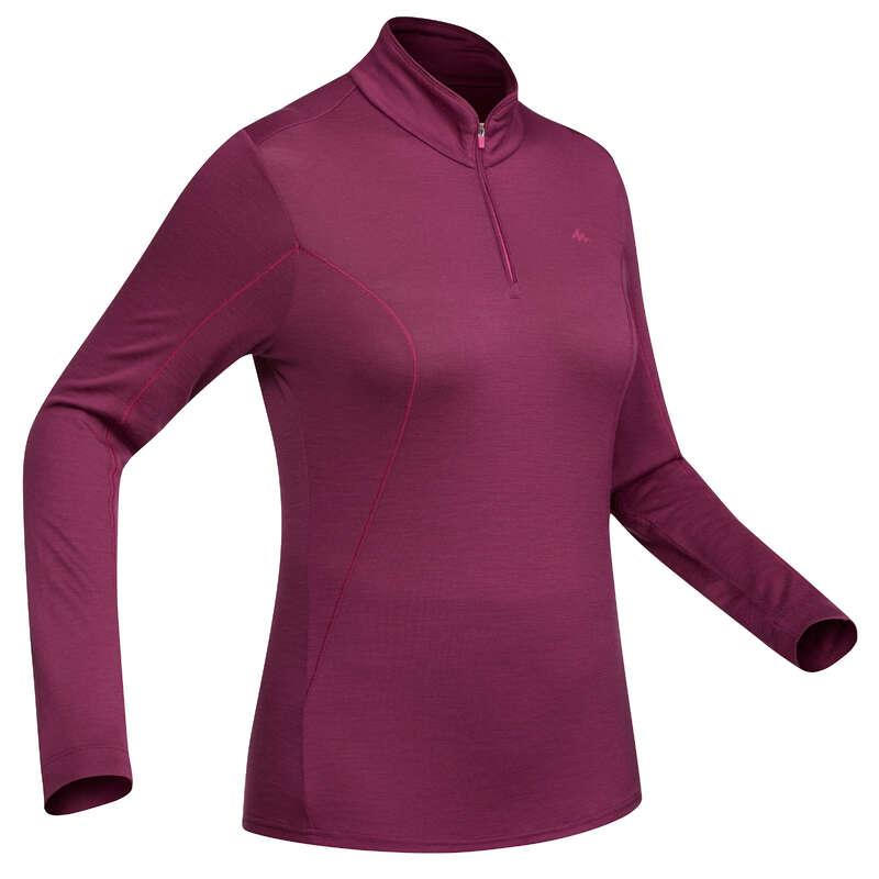Odzież trekkingowa z merynosa damska Turystyka, trekking - Koszulka TREK 500 damska FORCLAZ - Odzież turystyczna i trekkingowa