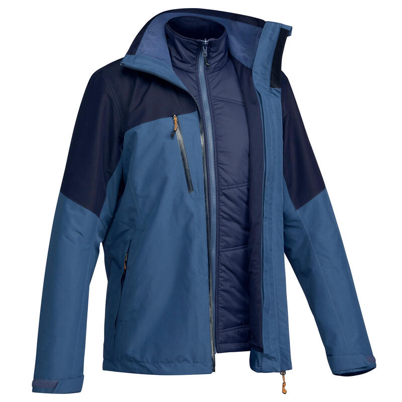 Abrigo Chaqueta 3 en 1 Montaña y Trekking de Hombre Forclaz Travel 500 Azul