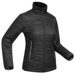 Women's black TREK 100 mountain TREKKING down jacket