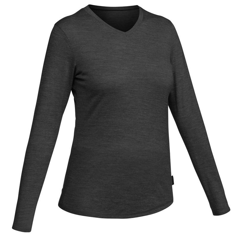T-shirt laine mérinos de randonnée de voyage - TRAVEL 100 gris - Femme