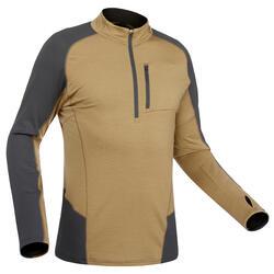 T-shirt met lange mouwen voor bergtrekking Trek 900 merinowol heren bruin