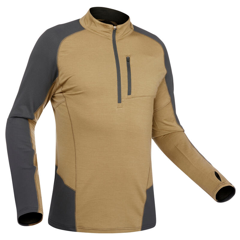 T-shirt mérinos manches longues de trek montagne TREK 500 Hybrid marron - homme