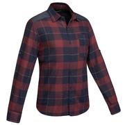Men's Travel Trekking Shirt - TRAVEL100 WARM Bordeaux
