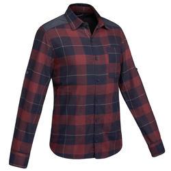 Overhemd voor trekking heren Travel 100 warm bordeaux