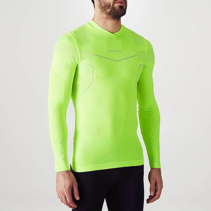 Sous maillot de football manches longues adulte Keepdry 500 jaune fluo
