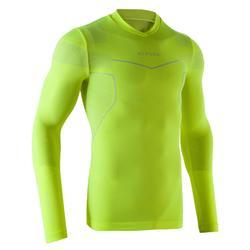 Camiseta térmica de fútbol de manga larga adulto Keepdry 500 amarillo fluo