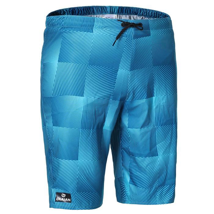 長版衝浪海灘褲100-藍色方格