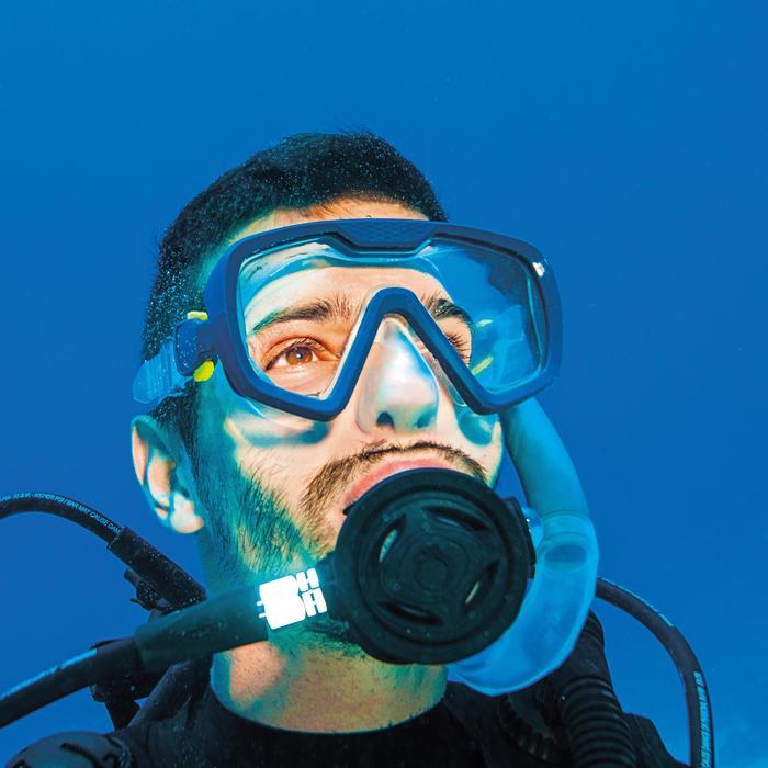Masque de plongée bouteille SCD 100 jupe translucide et cerclage bleu - 1484623