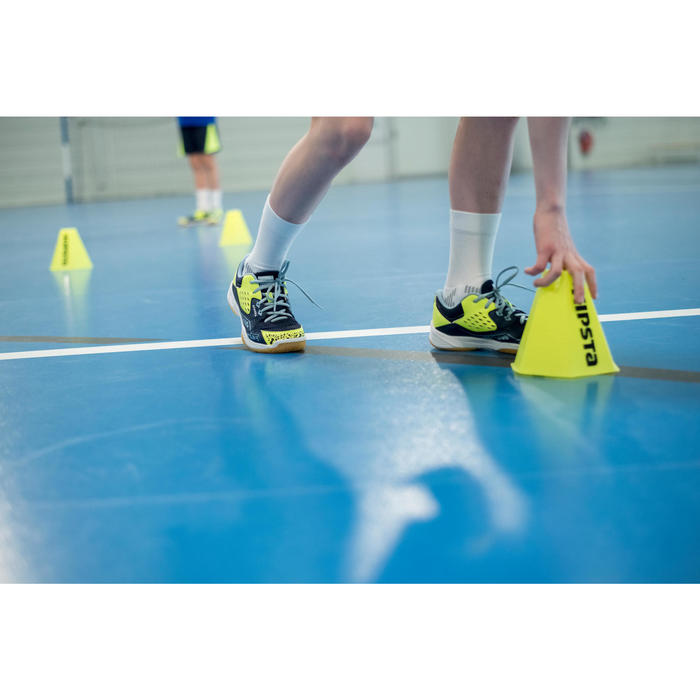 Handballschuhe H100 mit Klettverschluss Kinder blau/gelb