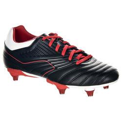 Botas de Rugby Offload Agility R500 SG taco aluminio niños negro y rojo