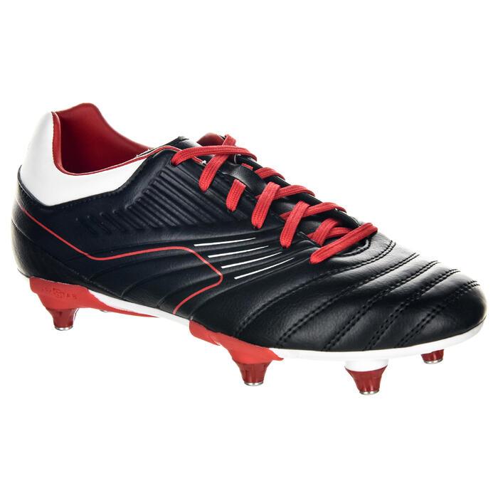Chaussures de rugby enfant vissée 6 crampons Agility R500 SG rouge