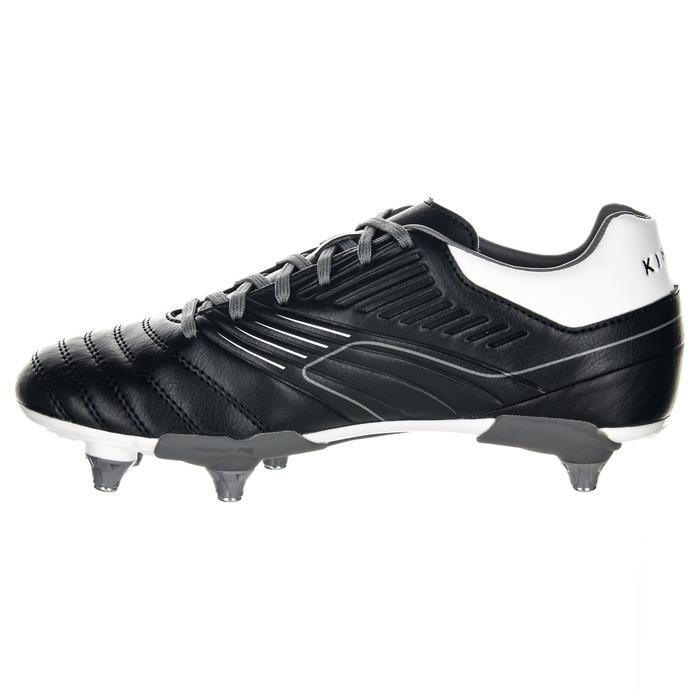 Chaussures de rugby enfant vissée 6 crampons terrains gras Agility R500 SG gris