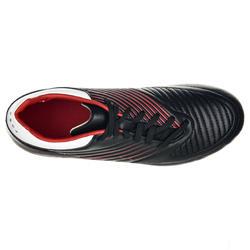 Botas de rugby niños terrenos secos Skill 500 FG negro rojo