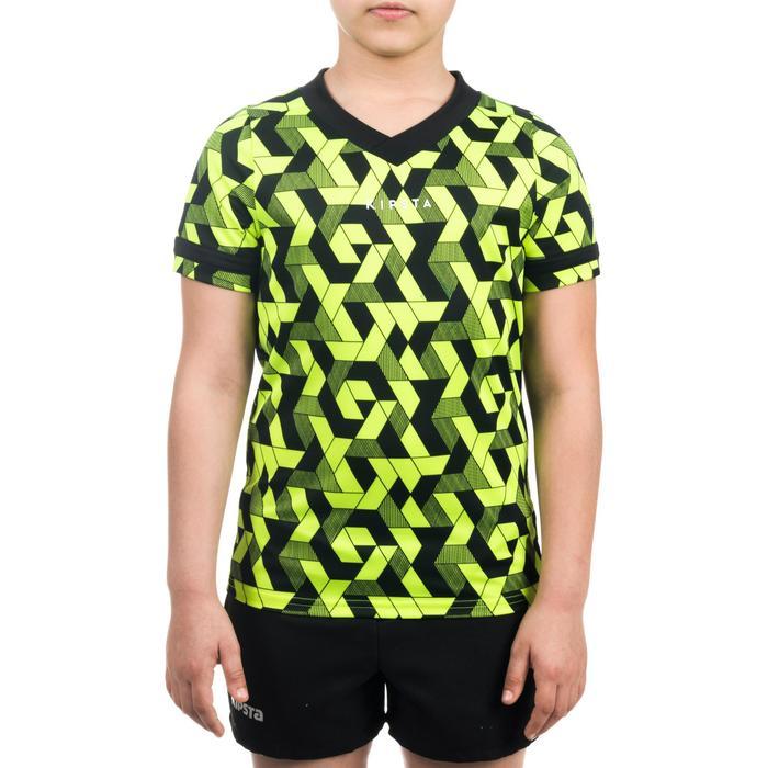 Rugbyshirt voor kinderen 100 geel/zwart