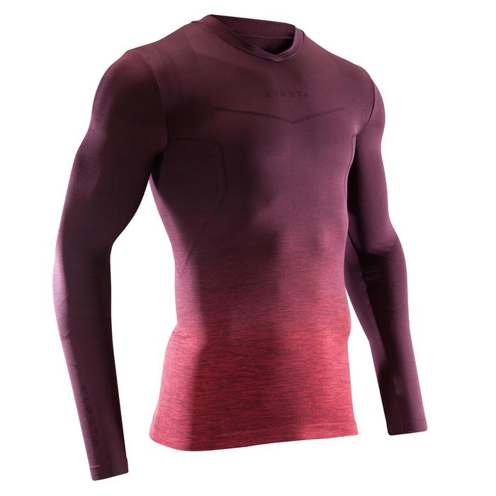 Keepdry 500 Adults' Football Long-Sleeved Base Layer - Faded Burgundy