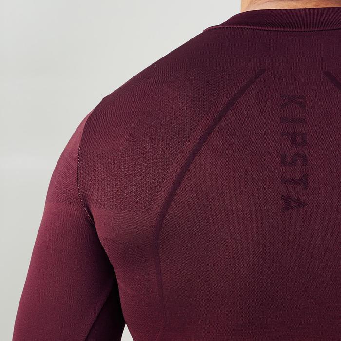 Camiseta térmica de fútbol manga larga adulto Keepdry 500 burdeos degradado