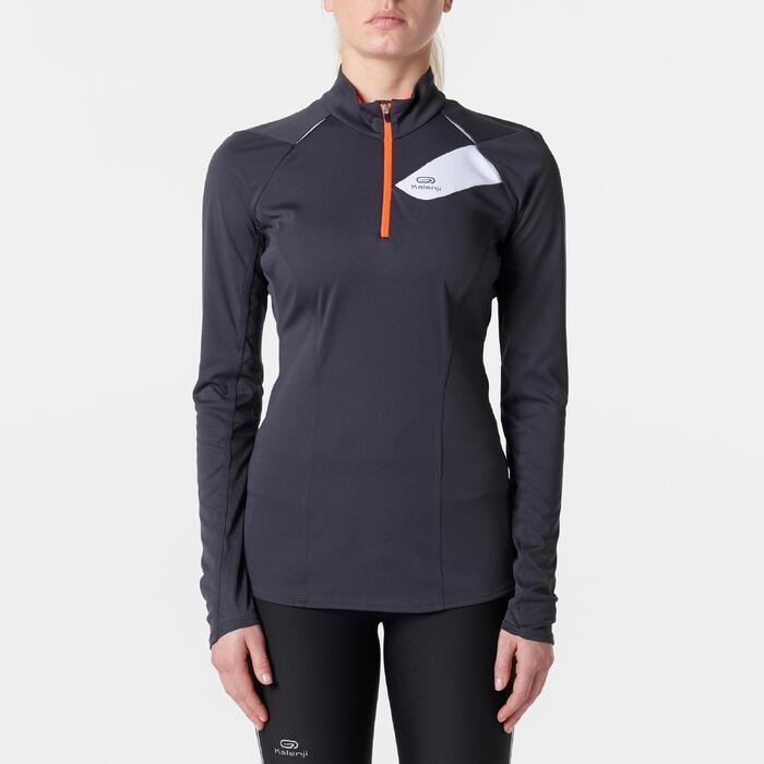Damesshirt met lange mouwen voor traillopen donkergrijs roze