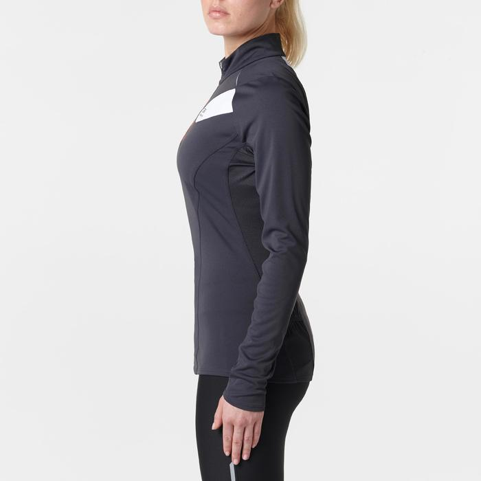 TEE SHIRT MANCHES LONGUES TRAIL RUNNING FEMME GRIS FONCE ROSE