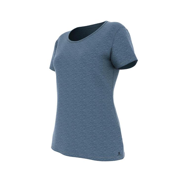 Dames T-shirt 500 voor gym en pilates regular fit donkerblauw