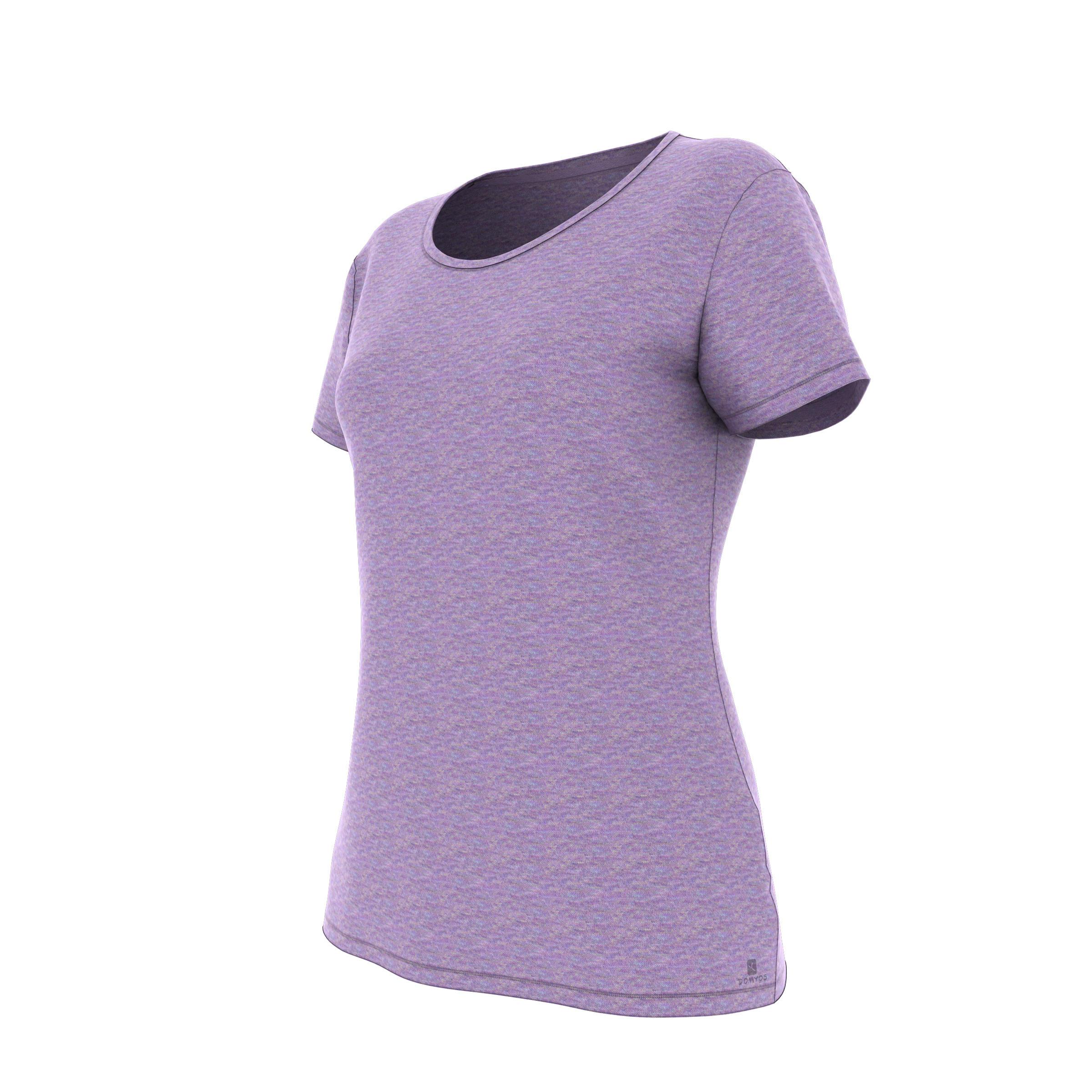 Domyos Dames T-shirt 500 voor gym en pilates regular fit paars
