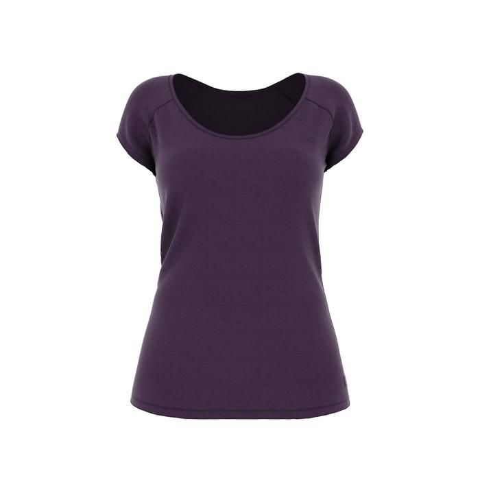 T-Shirt 500 Slim Gym Damen dunkelviolett