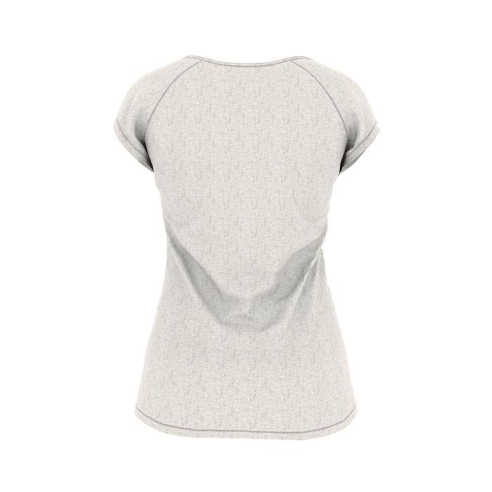 Dames T-shirt 500 voor gym en pilates slim fit beige