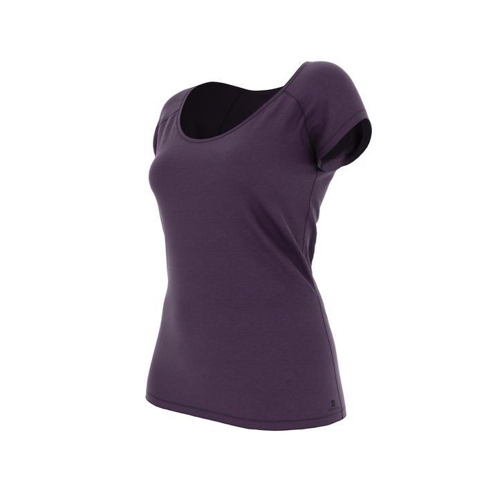 Dames T-shirt 500 voor gym en pilates slim fit donkerpaars